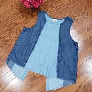 Anthropologie Cloth & Stone Chambray Frayed Tank